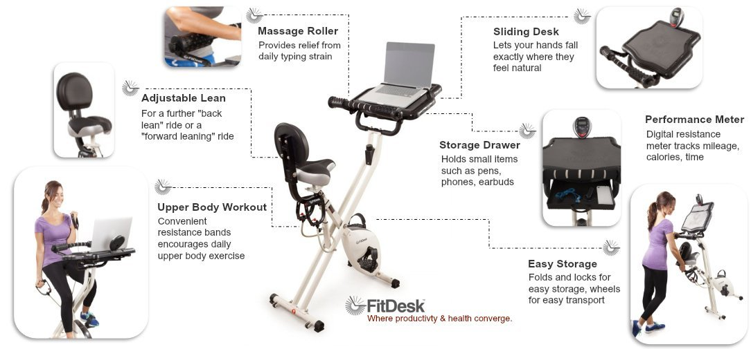 With the FitDesk X 2 0 Desk Exercise Bike with Massage Bar