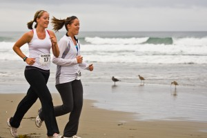 Two Girls Running
